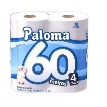 PAPEL HIGIÊNICO PALOMA 4X60MT
